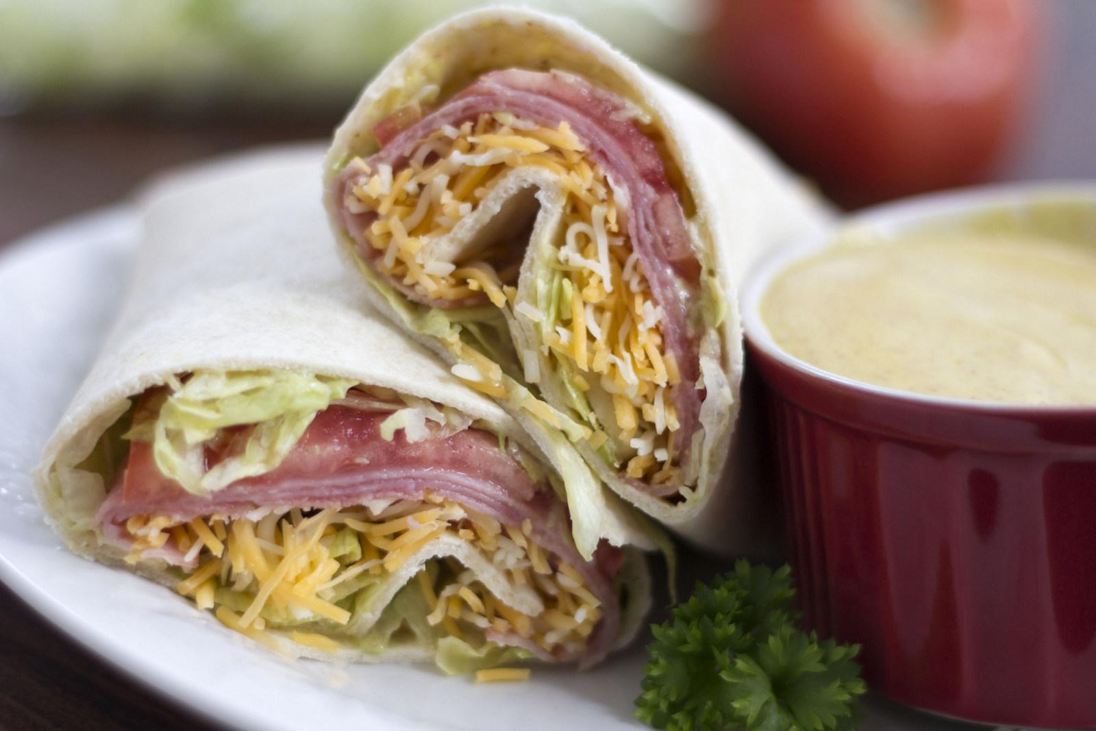 Ham and Cheese Wraps With Honey Mustard Sauce - Menus4Moms