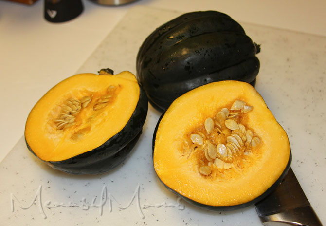 Slice the acorn squash in half