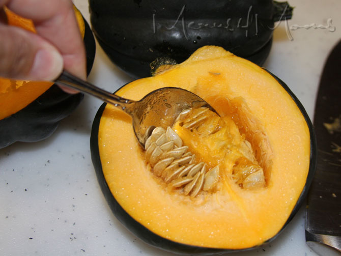 Scoop the insides out of the squash and discard
