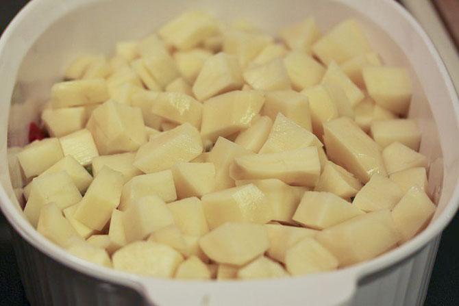 Chopped potatoes in a casserole dish